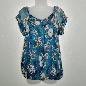 Tops - Flowy Floral 100% Silk Sheer Sleeve Elastic waist